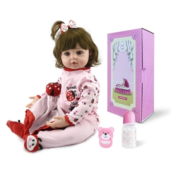 "24"" Beautiful Simulation Baby Girl Reborn Baby Doll in Beetle Dress - silicone material. Opens flyout."