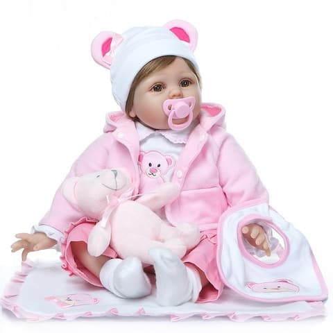 "22"" Beautiful Simulation Baby Girl Reborn Baby Doll in Bear Dress - silicone material"