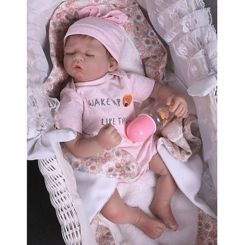 "20"" Beautiful Simulation Baby Girl Reborn Baby Doll in Pink Dress - silicone material"