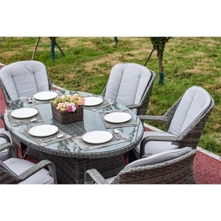 DIRECT WICKER Brown/Grey Rattan 7-piece Patio Furniture Table Chairs Set