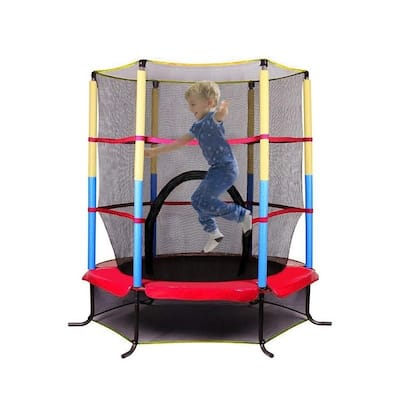 Kids Mini Trampoline with Safety Enclosure