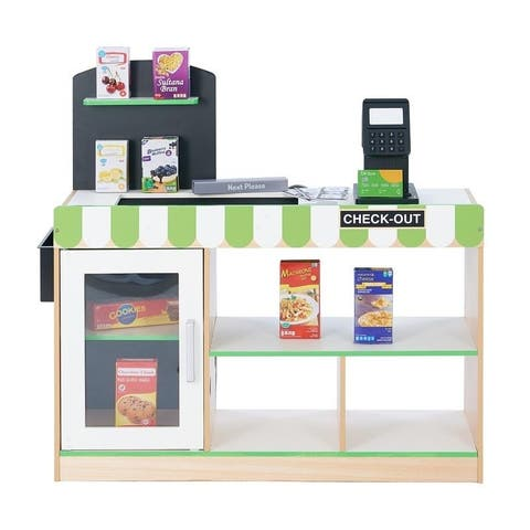 Teamson Kids - Cashier Austin Play Market Stand - Green / Wood