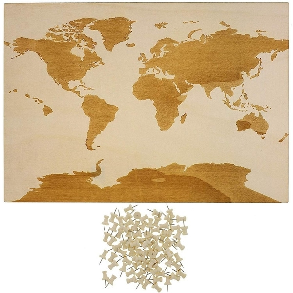 World Wood Travel Map for Wall Decor with 100 Push Pins, 16.5 x 11.5 Inches
