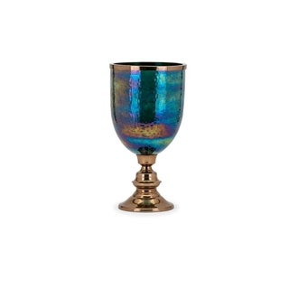 Traditional Style Aluminum and Glass Hurricane with Pedestal base, Multicolor