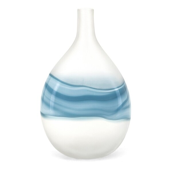Glass Constructed Bellied Vase with Wave Design, White and Blue