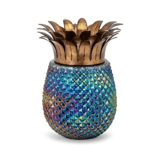 Pineapple Shaped Glass and Iron Hurricane with Spiked Details, Multicolor, Large