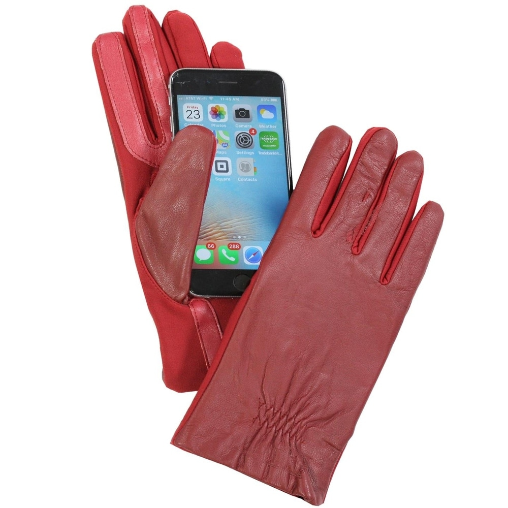 Stretchy Fully-Lined Faux Leather Red XS//S Isotoner Women/'s Smartouch Gloves
