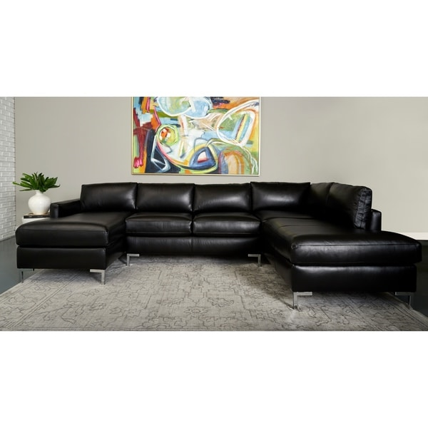 Copper Grove Enschede Right-facing U-shaped Leather Sectional