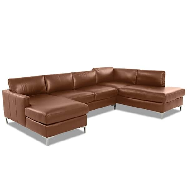 Shop Copper Grove Enschede Right Facing U Shaped Leather Sectional