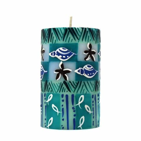Handmade Unscented Samaki Design Pillar Candle