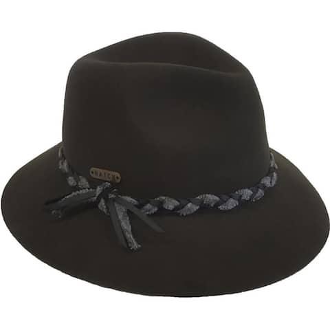 Twine unisex 2-tone trim wool felt fedora fall winter hat