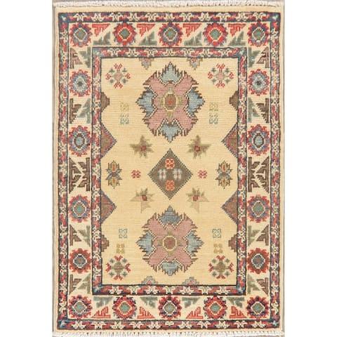 "Kazak Oriental Pakistani Hand Knotted Wool Traditional Area Rug - 2'11"" X 2'0"""