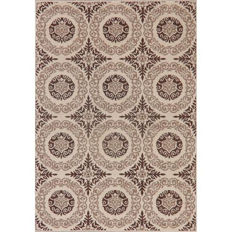 "Oriental Polyester/Jute Carpet Transitional Turkish Area Rug - 6'11"" X 4'11"""