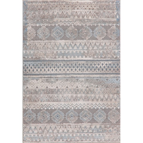 "Distressed Stripe Carpet Transitional Faded Turkish Area Rug - 7'7"" X 5'2"""