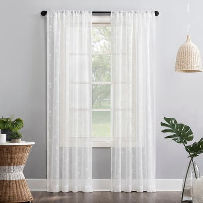 No. 918 Delia Embroidered Floral Sheer Rod Pocket Curtain Panel, Single Panel