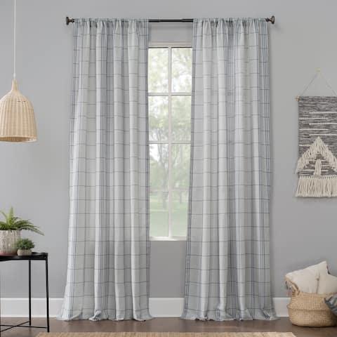 No. 918 Castille Farmhouse Plaid Linen Semi-Sheer Rod Pocket Curtain Panel