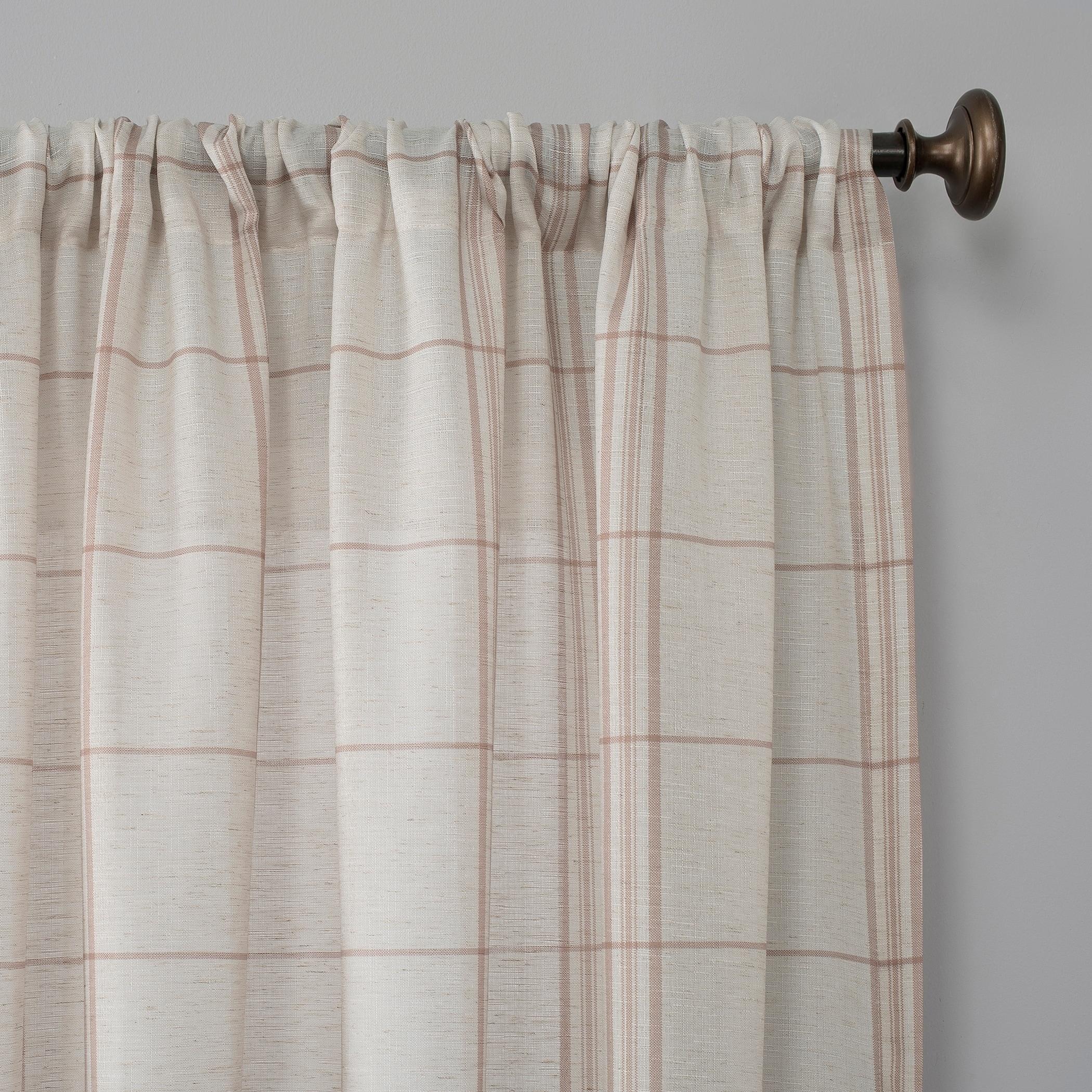 No 918 Castille Farmhouse Plaid Linen Semi Sheer Rod Pocket Curtain Panel On Sale Overstock 29826465