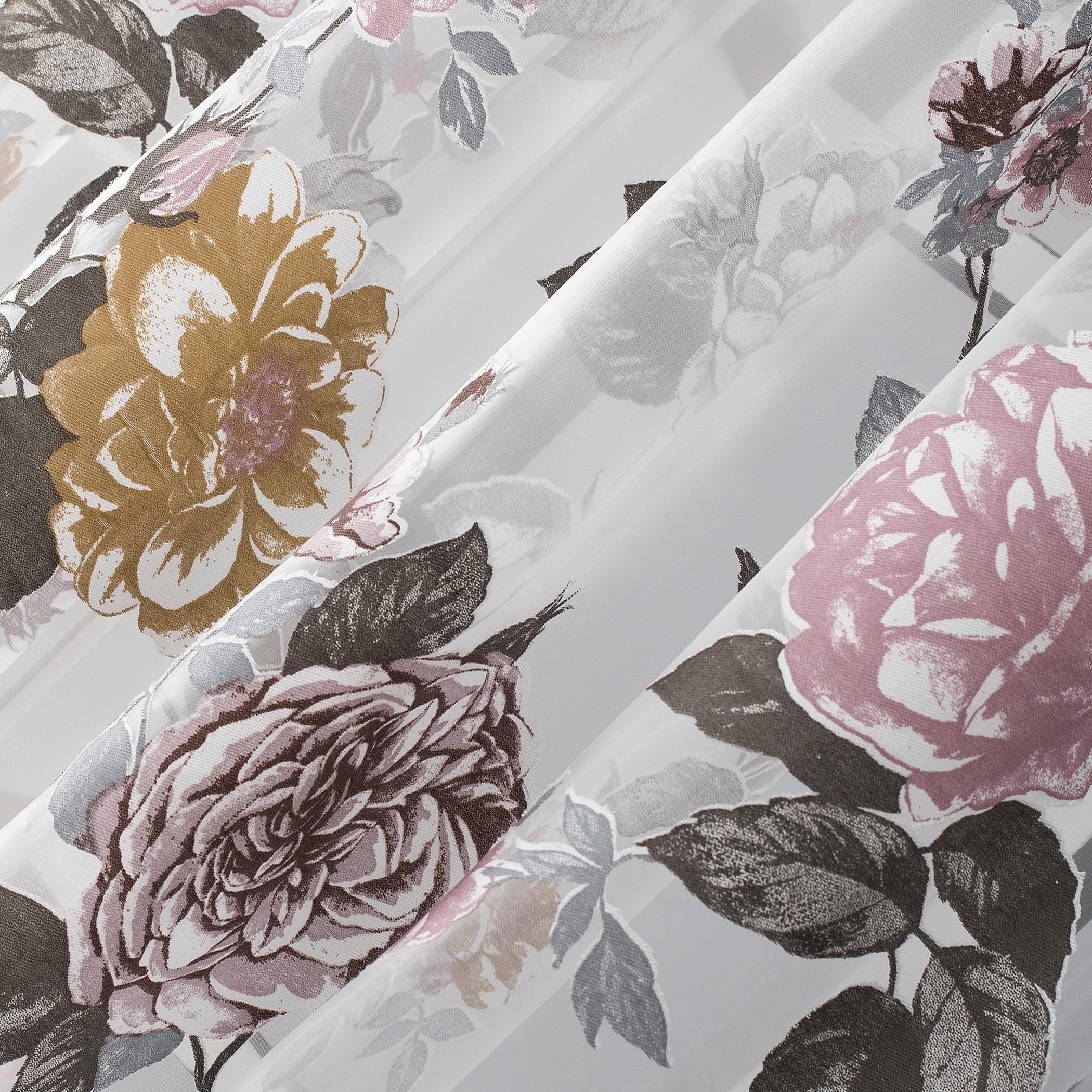No 918 Garden Floral Burnout Semi Sheer Rod Pocket Curtain Panel On Sale Overstock 29826469
