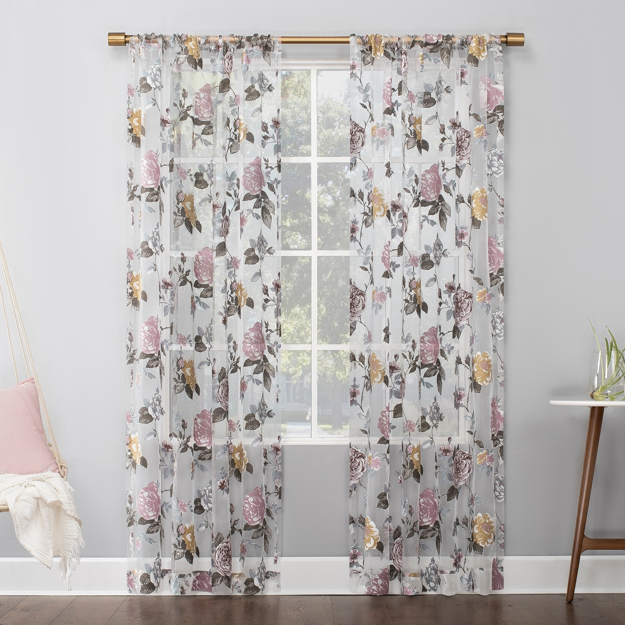 No 918 Garden Floral Burnout Semi Sheer Rod Pocket Curtain Panel Overstock 29826469