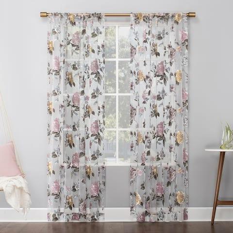 No. 918 Garden Floral Burnout Semi-Sheer Rod Pocket Curtain Panel