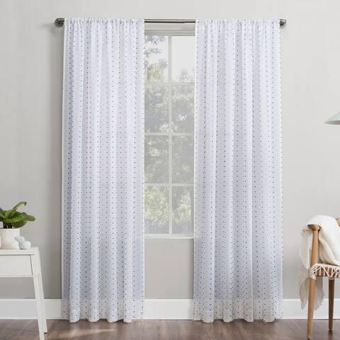 No. 918 Petani Clipped Swiss Dots Semi-Sheer Rod Pocket Curtain Panel, Single Panel
