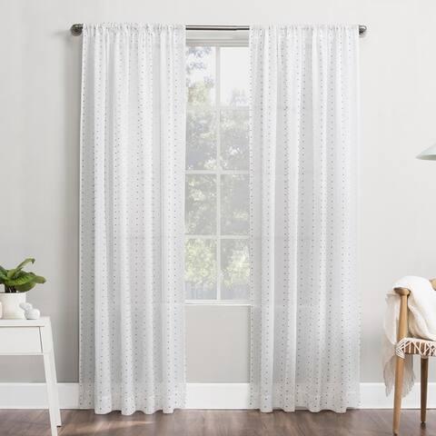 No. 918 Petani Clipped Swiss Dots Semi-Sheer Rod Pocket Curtain Panel