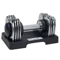 Sunny Health & Fitness No. 047 Adjustable Chrome 25 Pound Dumbbell Pair