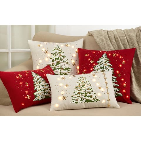 Christmas Tree Throw Pillow with LED Lights