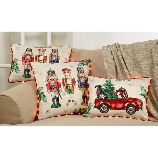 Christmas Tree Red Truck Pillow With LED Lights