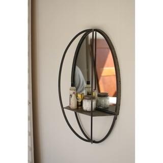 Carbon Loft McClarnon Oval Mirror with Wall Shelf
