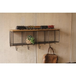 Carbon Loft McClarnon Large Wire Mesh Four Horizontal Cubbies with Wooden Top