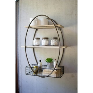Carbon Loft McClarnon Tall Oval Metal Framed Wall Unit with Recycled Wood Shelves