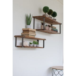 Set of 2 Recycled Wood and Metal Shelves