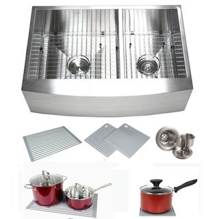 Link to Farmhouse Flat Apron Stainless Steel 33 in. x 21 in. x 10 in. 16-Gauge Double 60/40 Bowl Zero Radius Kitchen Sink Combo Similar Items in Sinks