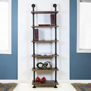 Emitt Tall Bookshelf Black Pipe Frame with Weathered Maple Shelves