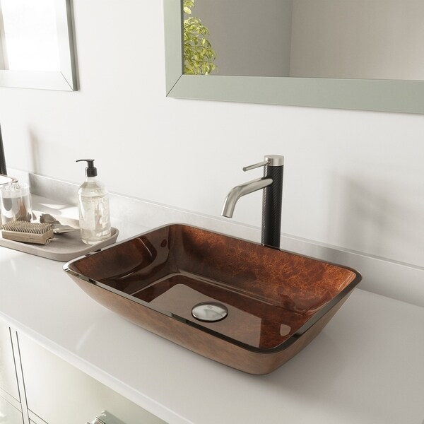 VIGO Rectangular Russet Glass Vessel Bathroom Sink and Lexington cFiber Vessel Faucet Set in Brushed Nickel