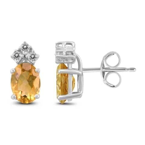 14K White Gold 6x4MM Oval Citrine and Diamond Earrings