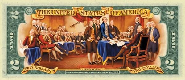 American Coin Treasures Colorized $2 Bill in Currency Portfolio