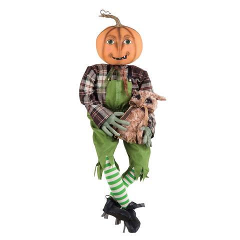 Percival Pumpkin Guy & Owl Joe Spencer Gathered Traditions Art Doll