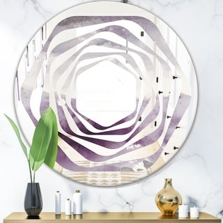Designart 'Midnight At The Lake II Amethyst and Grey' Modern Round or Oval Wall Mirror - Whirl