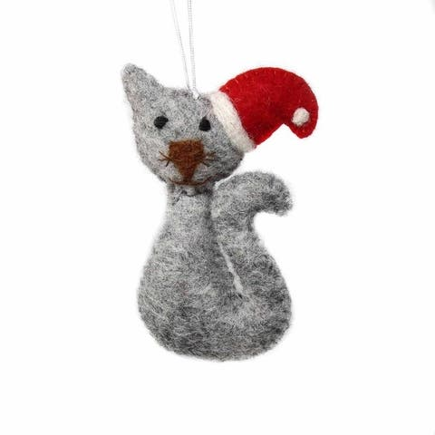 Handmade Felted Wool Christmas Ornament, Cat