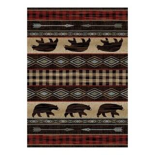 Lodge King Bear Plaid Rug
