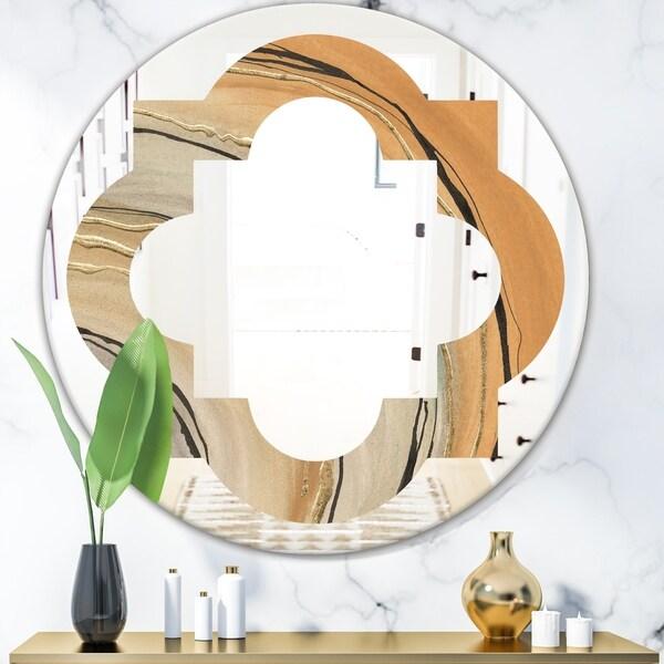 Designart 'Glam Canion II' Modern Round or Oval Wall Mirror - Quatrefoil