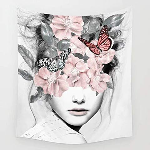 """Woman with Butterfly Floral Blindfold Tapestry 78"""" x 59"""""""