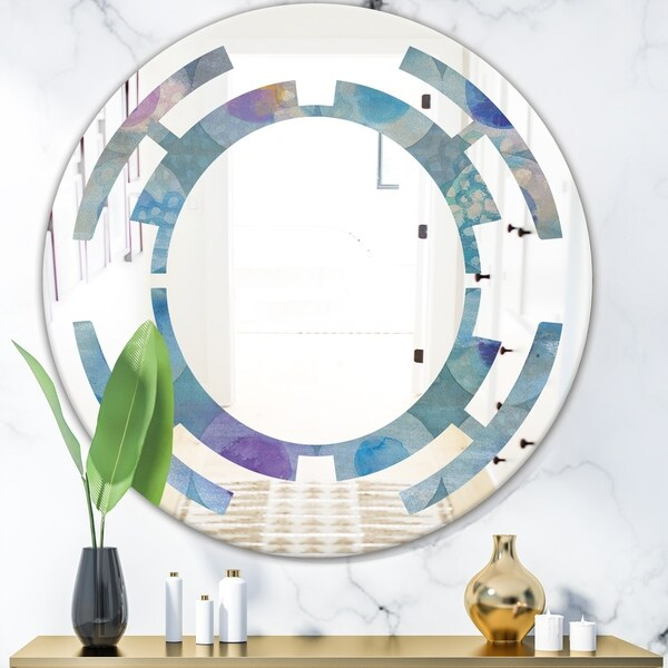 Designart 'Watercolor Geometrical Circles II' Modern Round or Oval Wall Mirror - Space