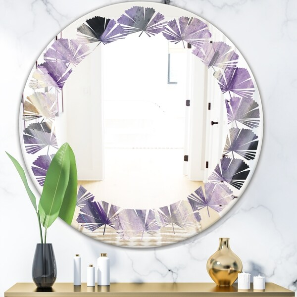 Designart 'Geometric Purple Glacier' Modern Round or Oval Wall Mirror - Leaves