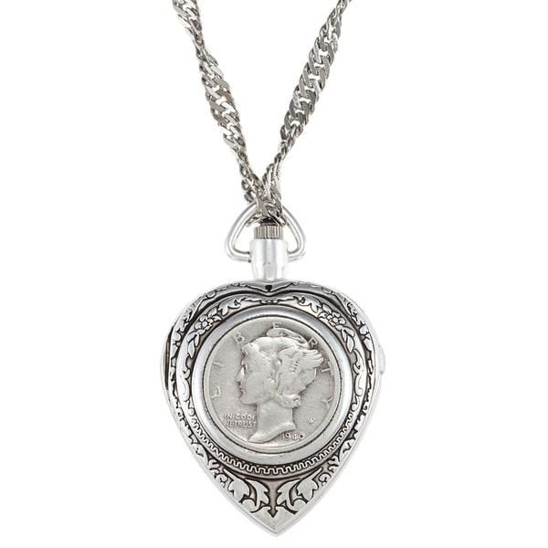 American Coin Treasures Silver Mercury Dime Heart Pendant Watch