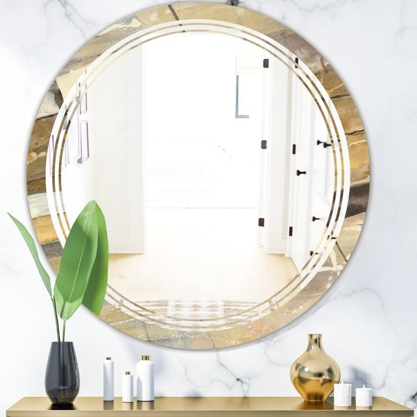 Designart 'Fire and Ice Minerals V' Modern Round or Oval Wall Mirror - Triple C