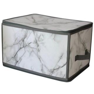 Marble Large Zippered Plastic Storage Box, Grey