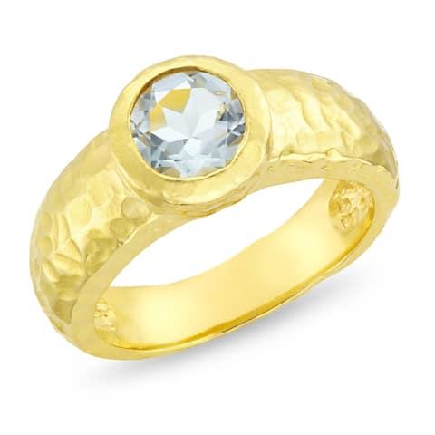 Forever Last 18 kt Gold Plated Women's Hammered Ring Quartz Size - 8